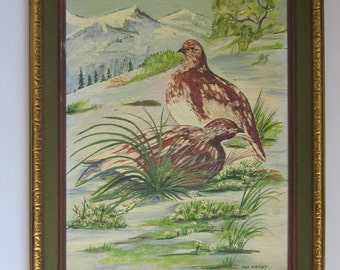"Snow Ptarmigan 1972 - Original Wildlife Painting Titled ""Grouse"" by Naive Artist Ona Mosby - Framed 16"" x 12"" Canvas Panel - Nature Picture"