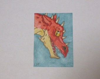 SALE ACEO Red Dragon Original Promarker Drawing Art Card