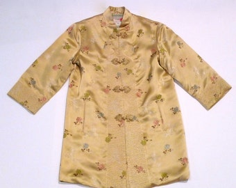 Chinese Tunic Jacket Vintage Peony Brand Asian Evening Coat 1960s Shanghai China Golden Yellow Floral Roses Brocade Size 36