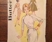 9465 1960's Women's Dress Vintage Sewing Pattern Butterick 9465 Bust 38