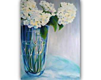 "Oil Painting, ""REFRESHING"" - Original Oil Painting - flowers, vase, hydrangea, glass, still life"