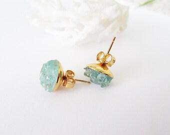Raw Gemstone Earrings -Blue Apatite Stud Earrings -Raw Stone Jewelry