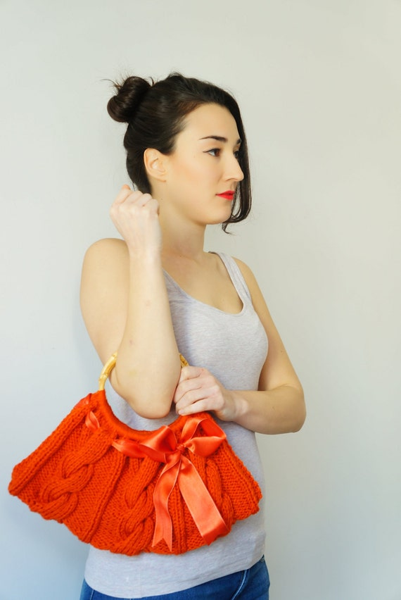 Women handbag.Hand knit bag. Knitted handbag. Women bag. Hand knit handbag.Knitted Purse.Handmade handbag Orange handbag