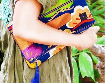 """Kimono Clutch Bag  """"Blue Matsu"""""""