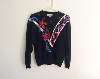 1980s avant garde sequined kawaii hipster oversized sweater