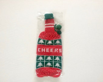 Vintage 1970s Wine Bottle Cover / Wine Sleeve / Knit / Pom Pom / New Old Stock / NOS / Deadstock / Christmas tree / Cheers