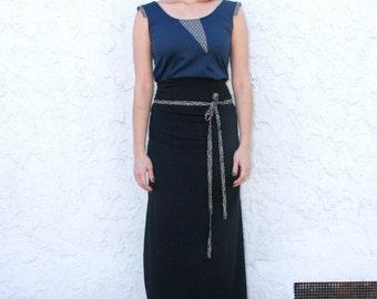 Women's Black Maxi Skirt, Japanese,  organic cotton - Slow Fashion, Sustainable, Eco Friendly *Free  Shipping*