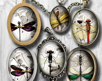 Dragonflies Minimal - 18x25mm, 13x18mm ovals - Digital Collage Sheet - Cameos, Printable Images, Jewelry Supplies - digital download CG-564O
