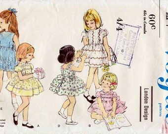 1960s Toddler's Party Dress and Slip Pattern Vogue 5572 Child's Vintage Sewing Pattern Girl's Stunning Full Skirt Dress Size 1 RARE