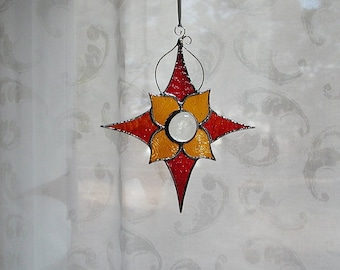 Red  Amber Stained Glass Star  Suncatcher, Home & Living, Home Decor, Decorative, Window Decor, Handmade Gift Idea, Window Art, Mothers Day