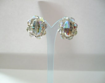 Vintage Earrings Crystal Cluster Clip On Aurora Borealis AB Rainbow Faceted Sparkly Silver Tone