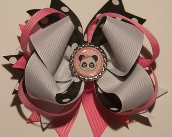 Panda Bear Hair Bow or Headband / Pink & Gray / Pageant / Photo Shoot / Princess / Infant / Baby / Girl / Toddler / Custom Boutique