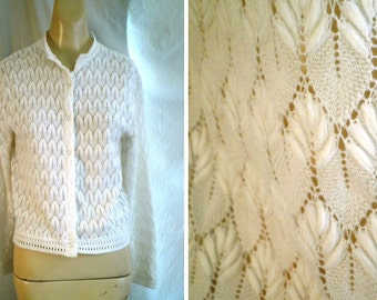 RESERVED Vintage Spring Sweater 1960's Lacy White Cardigan 36 to 40 bust