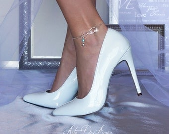 Something Blue Infinite Love Chain Wedding Anklet for Bride