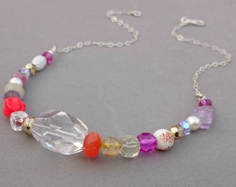 Multigem Necklace with Rock Crystal, Carnelian, Sapphire, Swarovski Crystal, Amethyst and Sterling Silver Chain