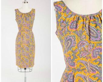 Vintage 1960s Dress • Mesmerizing Mood • Marigold Purple Paisley Print Rayon 60s Vintage Sheath Dress Size Small