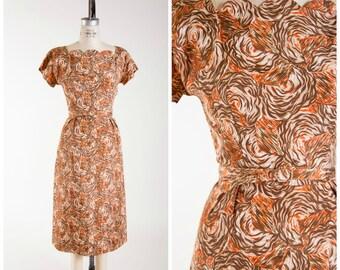 1950s Vintage Dress • Ambre Swirls • Orange Brown Midcentury Print Vintage 50s Sheath Dress Size Medium