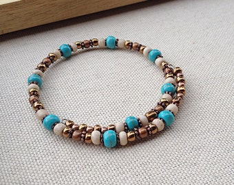 Single layer turquoise, gold and white bracelet ~ One of a kind jewelry