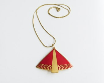 Laurel Burch Triangle Enamel Vintage Necklace with Red and Gold Details