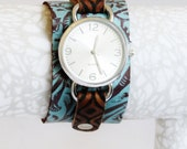 Stamped and Embossed Aqua and Brown LEather Cuff Watch, Large Faced Watch Cuff, Leather Cuff, Gift, Jewelry