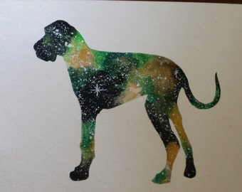 Great Dane watercolor galaxy painting for Megan