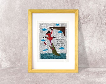 Peter Pan print-Tick Tock Croc crocodrile and Captain Hook dictionary print-holiday gift-Christmas gift-nursery wall art-NATURA PICTA-DP041