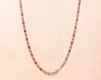 "Vintage Tri-Gold 18"" Fancy Link Chain, 10K, Yellow Gold, White Gold, Rose Gold, Free Shipping"
