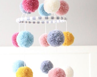 POM POM MOBILE - blush + cream + pink + grey + pale blue + mustard yellow pom pom mobile - darling baby mobile