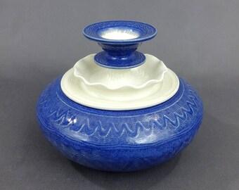"""Ceramic Jar in Dark Blue and Matte White. 4 1/2"""" T x 6"""" W. Ceramics & Pottery. Handmade. Stoneware. Vessel. Container. Home decor."""
