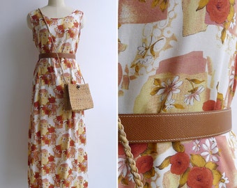 Vintage 90's Sweetheart Rose Floral Rayon Tank Dress M or L