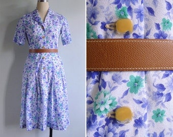 Vintage 80's Ultraviolet Blue Abstract Floral Day Dress S or M