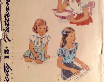 Vintage 1950s Simplicity Girls' Blouse Pattern 1209 Size 4