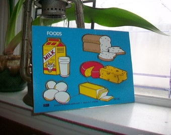 Vintage Wood Puzzle Connor Toy Children's Foods Puzzle Age 2 to 4