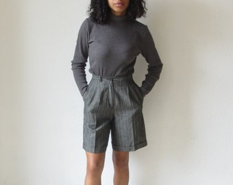 Vintage dress shorts Vintage striped pleated shorts 90s knee length shorts Vintage dress slacks