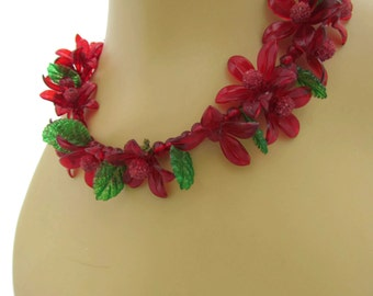 Red Choker Necklace Fruit Jewellery Vintage Plastic Jewelry Antique Fruit Choker Red Cherry Leaves- Fruit Charm Necklaces Haskell Like
