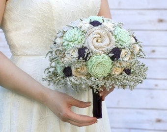 Mint & Purple, Sola Flower Wedding Bouquet // Bridal Bouquet, Mint Green, Plum, Burlap, Dried Flowers, Alternative Bouquet, Bride Bouquet
