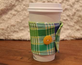 Handmade Fabric Coffee Cozy, Plaid Cozie, Travel mug, Iced Coffee, Fits Starbucks Cup, Coffee Sleeve, gift, green, blue, yellow