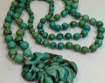 Old Chinese Turquoise Carved Carving Bead Pendant Orchid Flower Necklace