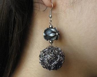 Polymer clay Statement earrings, Flower earrings, Statement jewelry, Flower jewelry, Antique Silver Earrings, Wire jewelry, Wire Earrings
