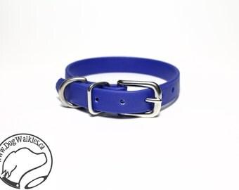 "Royal Blue Little Dog Collar - 1/2"" (12mm) Thin Beta Biothane Dog Collars - Waterproof Small Dog Collar - Choice of: Size and Hardwre Type"