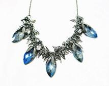 Blue Crystal Necklace, Fruits Statement Necklace, Leaves Statement Necklace, Blue Sapphire Necklace, Chunky Necklace, Elegance Necklace