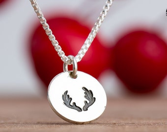 Reindeer Necklace - Christmas Reindeer Charm necklace in Sterling Silver - Christmas Jewelry, Holiday Winter Necklace - Present Gift for her