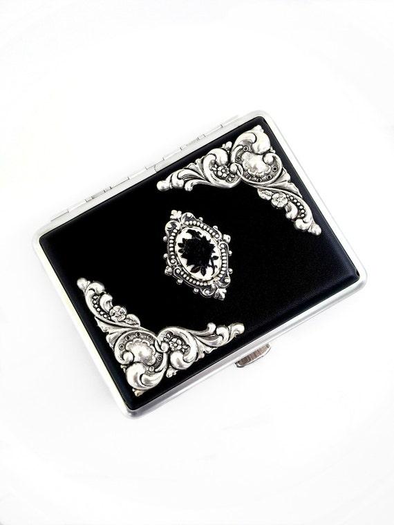 Black Rose Cameo Cigarette Case Silver Case Goth Black Cigarette Case Victorian Gothic Jewelry Accessories