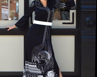 1970's Balck and white deco print maxi dress