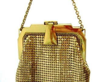 Whiting and Davis Gold Metal Mesh Purse Gold Metal Mesh Wristlet Dance Purse Prom Purse Party Wedding Bridal Purse Holiday Purse DD 644