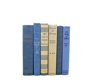 Blue Beige BOoks, Wedding Decoration, Decorative Books, Vintage Book Set, Instant Library, Interior Design, Book Collection, Old Book Decor