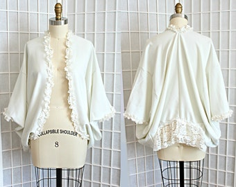 Lace Ruffle Kimono Cardigan in White Romantic Bohemian Women's Clothing Size Small Medium Large