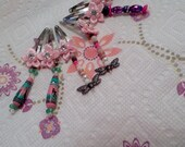 Girls barrettes one set for 4.00 cute pink bow with pretty jewelry beads. sweetheart barrettes.