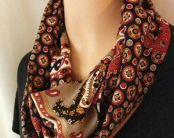 Geometric Infinity Fashion Scarf/Rust red/Black/Tan