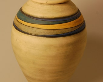 Urn Lidded Jar Neutral Colorful Vessel A Colorful Life KH1567 Adult Cremation Ashes Handcrafted Artistic